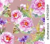 bright beautiful watercolor... | Shutterstock . vector #674932849