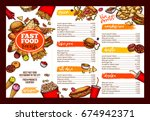 fast food restaurant menu... | Shutterstock .eps vector #674942371