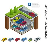 underground parking with cars.... | Shutterstock .eps vector #674945089