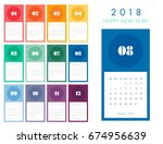 colorful calendar layout for... | Shutterstock .eps vector #674956639