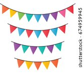 vector set of decorative party... | Shutterstock .eps vector #674959945