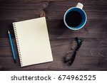 office wood table with blank... | Shutterstock . vector #674962525