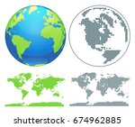 globes showing earth with all... | Shutterstock .eps vector #674962885