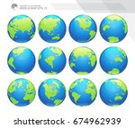 globes showing earth with all... | Shutterstock .eps vector #674962939