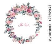 watercolor floral illustration  ... | Shutterstock . vector #674964619