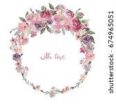 watercolor floral illustration  ... | Shutterstock . vector #674965051