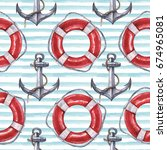 seamless watercolor nautical... | Shutterstock . vector #674965081