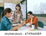 beauty confident designer lady... | Shutterstock . vector #674966089
