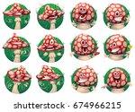 vector set of round green... | Shutterstock .eps vector #674966215