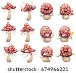 vector set of cartoon images of ... | Shutterstock .eps vector #674966221