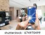 smart home automation app on... | Shutterstock . vector #674970499