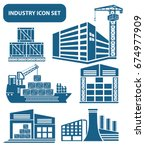 industry icon set clean vector | Shutterstock .eps vector #674977909