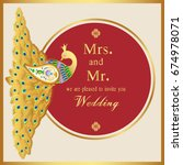 wedding invitation or card with ...   Shutterstock .eps vector #674978071