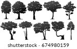 set of tree silhouette on white ... | Shutterstock .eps vector #674980159