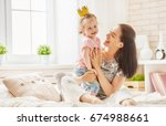 happy loving family. mother and ... | Shutterstock . vector #674988661