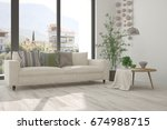 idea of white room with sofa... | Shutterstock . vector #674988715