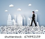 concept of leader vision and... | Shutterstock .eps vector #674992159