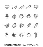 vegetables food black thin line ... | Shutterstock .eps vector #674997871