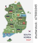 korea map vector illustration... | Shutterstock .eps vector #675001045