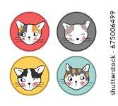 Stock vector vector illustration set logo head of cute cat different face 675006499