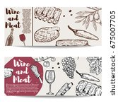 wine and meat banner template.... | Shutterstock .eps vector #675007705