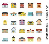 town house cottage and assorted ... | Shutterstock .eps vector #675015724