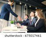 job applicant having interview. ... | Shutterstock . vector #675017461
