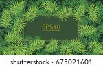 tropical green leaf pattern... | Shutterstock .eps vector #675021601