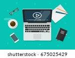 video on laptop vector... | Shutterstock .eps vector #675025429
