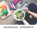 yoga female cooking homemade... | Shutterstock . vector #675026674