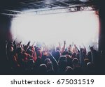 silhouettes of concert crowd in ... | Shutterstock . vector #675031519