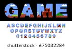 vector font and alphabet... | Shutterstock .eps vector #675032284