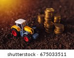 agricultural tractor toy and... | Shutterstock . vector #675033511