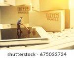 miniature messenger with a wood ...   Shutterstock . vector #675033724