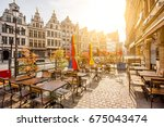 morning view on the grote markt ... | Shutterstock . vector #675043474
