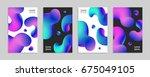 fluid colors backgrounds set.... | Shutterstock .eps vector #675049105