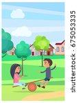 male and female children... | Shutterstock .eps vector #675053335