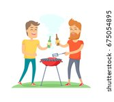 two man with drink fried meat... | Shutterstock .eps vector #675054895
