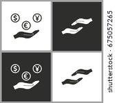 cash on hand   black and white... | Shutterstock .eps vector #675057265
