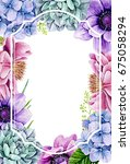 wedding invitation with water...   Shutterstock . vector #675058294