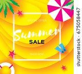 summer sale template banner.... | Shutterstock .eps vector #675058447