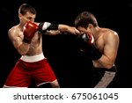 two professional boxer boxing... | Shutterstock . vector #675061045