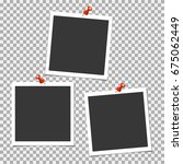 photo frame with pin on grey... | Shutterstock .eps vector #675062449