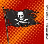 pirate flag with jolly roger... | Shutterstock .eps vector #675064621