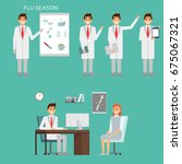group of doctors characters and ... | Shutterstock .eps vector #675067321