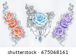 set of sketches of multicolored ... | Shutterstock . vector #675068161