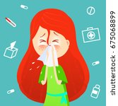 sick girl. allergy kid sneezing.... | Shutterstock .eps vector #675068899