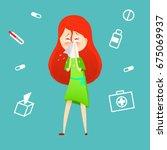 sick girl. allergy kid sneezing.... | Shutterstock .eps vector #675069937