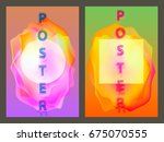poster with neon flat geometric ... | Shutterstock .eps vector #675070555
