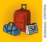 travel bags pop art retro... | Shutterstock . vector #675075541